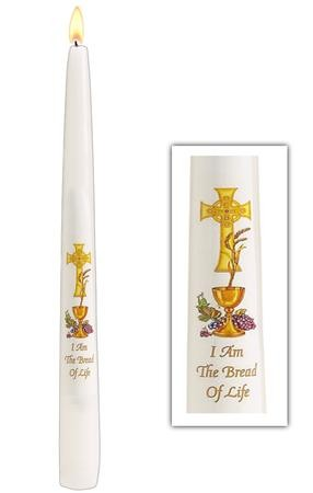 White IHS Chalice Design First Communion Candle Decoration 10 Inch
