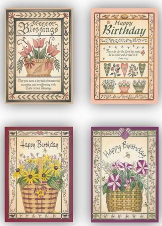 Flower Baskets Birthday Cards Box Of 12