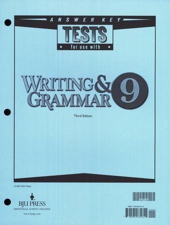 BJU Press English Grade 9 Test Answer Key 3rd Edition ...