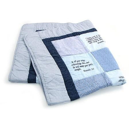 18f169372 Embroidered Scriptures Baby Quilt, Blue - Christianbook.com