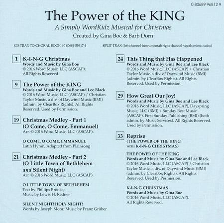 the power of the king a simply wordkidz musical for christmas split track accompaniment gina boe barb dorn dave clark christianbookcom