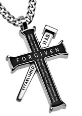 Forgiven Established Cross Necklace, Black