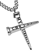 Christ My Strength Nail Cross Necklace
