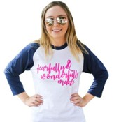 Fearfully & Wonderfully Made, Baseball T-Shirt, White and Blue, XX-Large