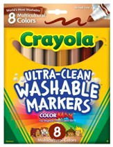 Crayola, Broad Line Washable Markers, Multicultural, 8 Pieces