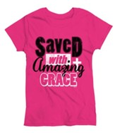 Saved With Amazing Grace, Ladies Shirt, Pink, Large