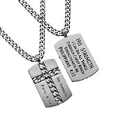Christ My Strength Chain Cross Necklace, Silver