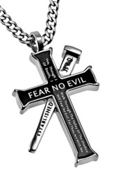 Fear No Evil Established Cross Necklace, Black