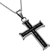 Forgiven Girls Black Iron Cross , 18 Chain (John 3:16)