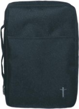 Embroidered Canvas Bible Cover, Black, Medium