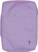 Embroidered Canvas Bible Cover, Purple, Large