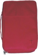 Embroidered Canvas Bible Cover, Red, Large