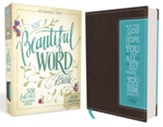 NIV Beautiful Word Bible--soft leather-look, chocolate/turquoise