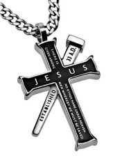 Jesus Established Cross Necklace, Black