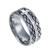 Christ My Strength, Diamond Back Ring Silver, Size 9