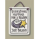 Just Believe, Hanging Ceramic Plaque, Small Rectangle