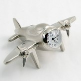 Silver 4 Prop Airplane Clock Psalm 57:10 Cross