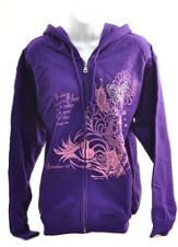 Rhinestone Butterfly Zippered Hoodie, Purple,  Large (42-44)