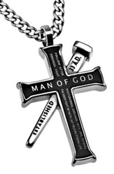 Man of God Established Cross Necklace, Black