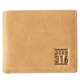 John 3:16 Bi-Fold Wallet, Genuine Leather, Tan