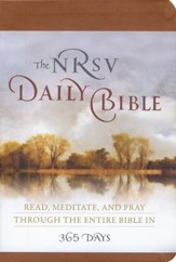The NRSV Daily Bible: Read, Meditate, and Pray Through  the Entire Bible in 365 Days, Brown Imitation Leather - Slightly Imperfect