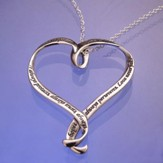 Love Is, Sterling Silver Ribbon Heart Necklace