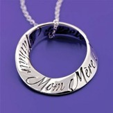 Mom In 10 Languages, Sterling Silver Mobius Necklace