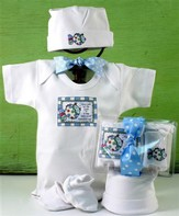 God Saw All He Made Newborn Set, Blue