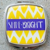 Shine Bright Chevron Compact Mirror, Yellow & Blue