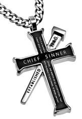 Chief Sinner Established Cross Necklace, Black