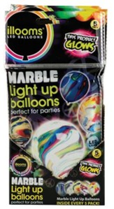 Illoom Light Up Balloons, Marble Swirls, Pack of 5
