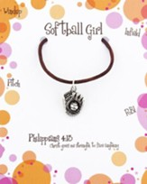 Softball Necklace, Philippians 4:13