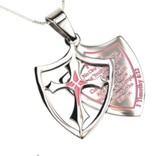 Purity, Shield Cross Necklace, Pink