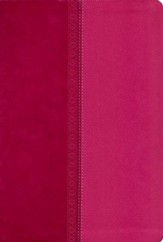 NKJV Giant Print Center-Column Reference Bible, Imitation Leather, Raspberry, Indexed