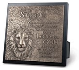 Be Strong and Courageous Lion Sculpture Plaque