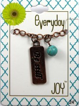 Be Still, Copper Toned Necklace with Turquoise Bead