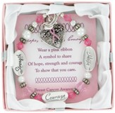 Breast Cancer Awareness, Hope, Courage, Strength Bracelet