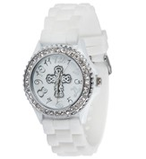 Silicone Watch with Cross, White, Medium