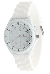 Silicone Watch with Cross, White, Large