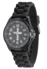 Silicone Watch with Cross, Black, Large