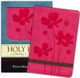 God's Word Compact Bible, Duravella, rose/brown, Flower Design - Imperfectly Imprinted Bibles