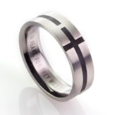 Men's Stainless Steel Ring with Black Cross, Size 9