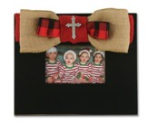 Red Burlap Bow with Cross Bling, Frame, Black