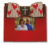 Red Picture Frame with Ribbon Rooster Bow