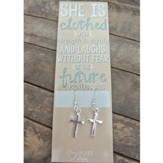 Silver Cross Earrings with Proverbs 31:25 Bookmark