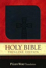 GOD'S WORD Thinline Bible, Duravella, Black, Celtic Cross Design - Slightly Imperfect