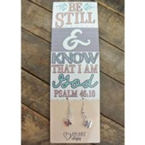 Silver Cross Earrings with Be Still & Know Bookmark