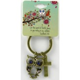 Owl Keyring, Colossians 3:16, Jeweled