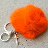 Orange Puff With Cross, Keychain