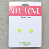 Show Love Heart Earrings, Lime